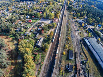 The railway passes through the provincial town. View of the railway in the village Maksatikha Stock Photo