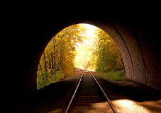 The railway passing through the tunnel Stock Photos