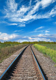Railway perspective and blue cloudy sky Royalty Free Stock Images