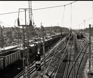 Railway in perspective. At sunny summer in black and white Royalty Free Stock Photo
