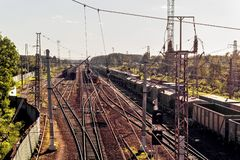 Railway in perspective. At sunny summer day Stock Image