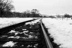 Railway. The picture monochrome. It`s spring. Photo showing the path of the railway somewhere in Russia. Immense space stock images