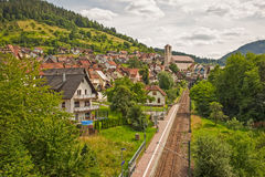 A railway is in the picturesque mountains. Of Schwarzwald royalty free stock image