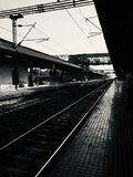 Railway platform dark scene photo royalty free stock image