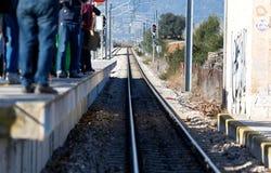 Railway platform at enllac station near inca in mallorca stock photos