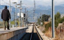 Railway platform at enllac station near inca in mallorca stock photography