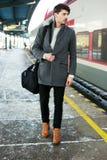 On railway platform Stock Photography