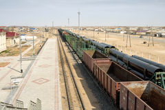 Railway platform laden pipes. Royalty Free Stock Image