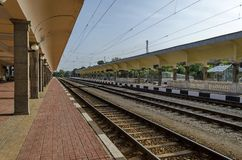 Railway platform of railway station Ruse Royalty Free Stock Photos