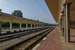 Railway platform of railway station Ruse Stock Photos