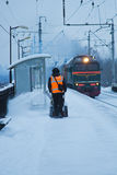 Railway platform in the snow Stock Photos