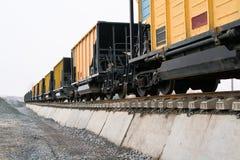 Railway platforms. Unloading of railway platforms for bulk materials Stock Photos