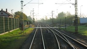 Railway Point of View. Train journey point of view stock video