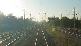 Railway Point of View. Train journey point of view stock video footage