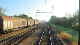 Railway Point of View. Train journey point of view stock footage