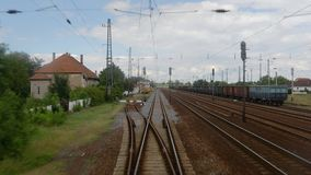 Railway point of view. Train journey viewed from the back stock video footage