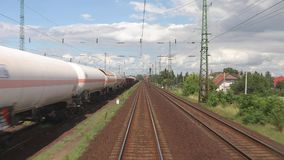 Railway point of view. Train journey viewed from the back stock footage
