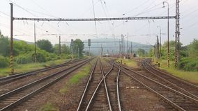 Railway point of view. Train journey viewed from the back stock video