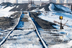 Railway points, deformation of railway track, built on permafrost. Polar tundra, Russia Royalty Free Stock Image