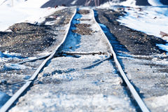 Railway points, deformation of  track, built on permafrost. Railway points, deformation of railway track, built on permafrost. Polar tundra, Russia Royalty Free Stock Images
