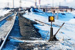 Railway points, deformation of  track, built on permafrost. Stock Photos