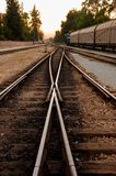 Railway points at sunset from Adana - Turkey. Transportation concept stock photography