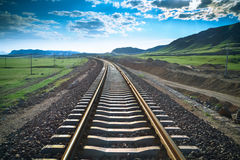Railway in prairie. The construction of railroad background Stock Image