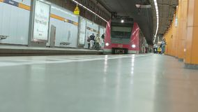 MUNICH BAYERN, GERMANY, EUROPE - JULY 02 . 2018 Railway public Transport. Railway public Transport platform railway, railroad   S-bahn train arriving at Munich stock video