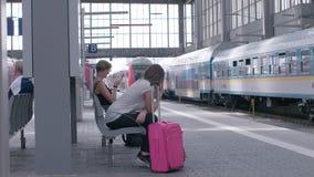 MUNICH, BAYERN GERMANY - JUN 01, 2018. Railway public Transport platform railway, railroad Regional express train arriving on the platform at Munich Train stock video