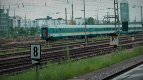 Munich Bayern, Germany, Europe - July 02 . 2018 Railway public Transport. Railway public Transport platform railway, railroad    train arriving at Munich Train stock video footage