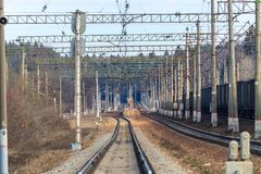Railway rail track to the station royalty free stock image