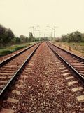 Railway. Rail tracks enticing in the distance royalty free stock photography