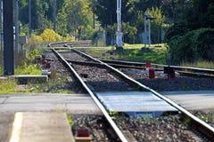 Railway. Railroad empty platform in perspective stock photo
