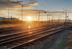 Railway, railroad lines at sunset Royalty Free Stock Photos
