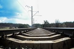 RAILWAY. RAILROAD SUMMER hot AND BEAUTIFUL day royalty free stock photography