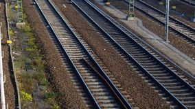 Railway railroad tracks. Aerial view of railway railroad following the tracks stock video