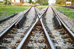 Railway railroad tracks for train public transport Stock Image