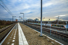 Railway or railroad tracks for train transportation Stock Photography