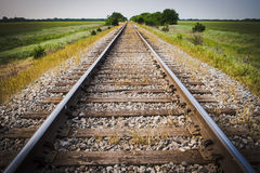 Railway, Railroad, Train Tracks, With Green Pasture Early Morning. Railway, Railroad, Train Tracks, With Green Pasture stock photos