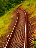 Railway / rails. Prospect of a railroad tracks coiling a zigzag Royalty Free Stock Photos