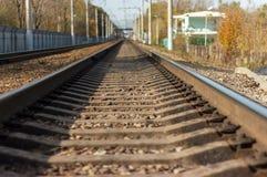 Railway rails close up, going far forward
