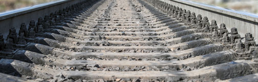 Railway. Rails and cross ties closeup stock image