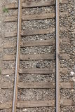 Railway. Rails and cross ties, stretching into the distance Royalty Free Stock Image