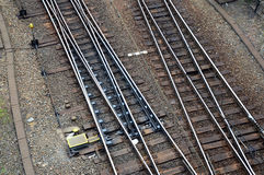 Railway rails, network lines changing, train Royalty Free Stock Images