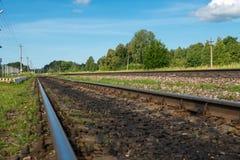 Railway rails. Go into the distance Royalty Free Stock Photos