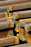 Railway rails scrap recycling details Royalty Free Stock Photos