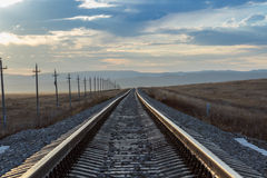 Railway rails of stretching into the distance. Royalty Free Stock Photos