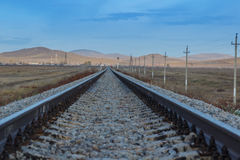 Railway rails of stretching into the distance. Royalty Free Stock Photo
