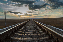 Railway rails of stretching into the distance. Stock Image
