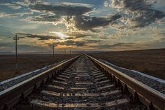 Railway rails of stretching into the distance. Stock Photography
